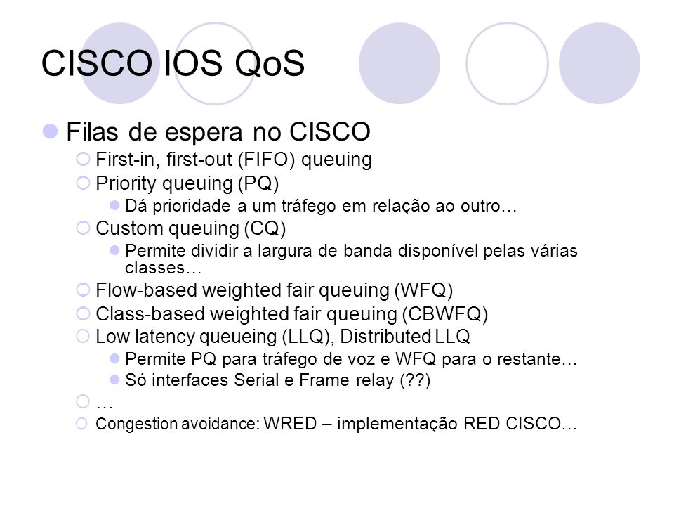CISCO IOS QoS Filas de espera no CISCO