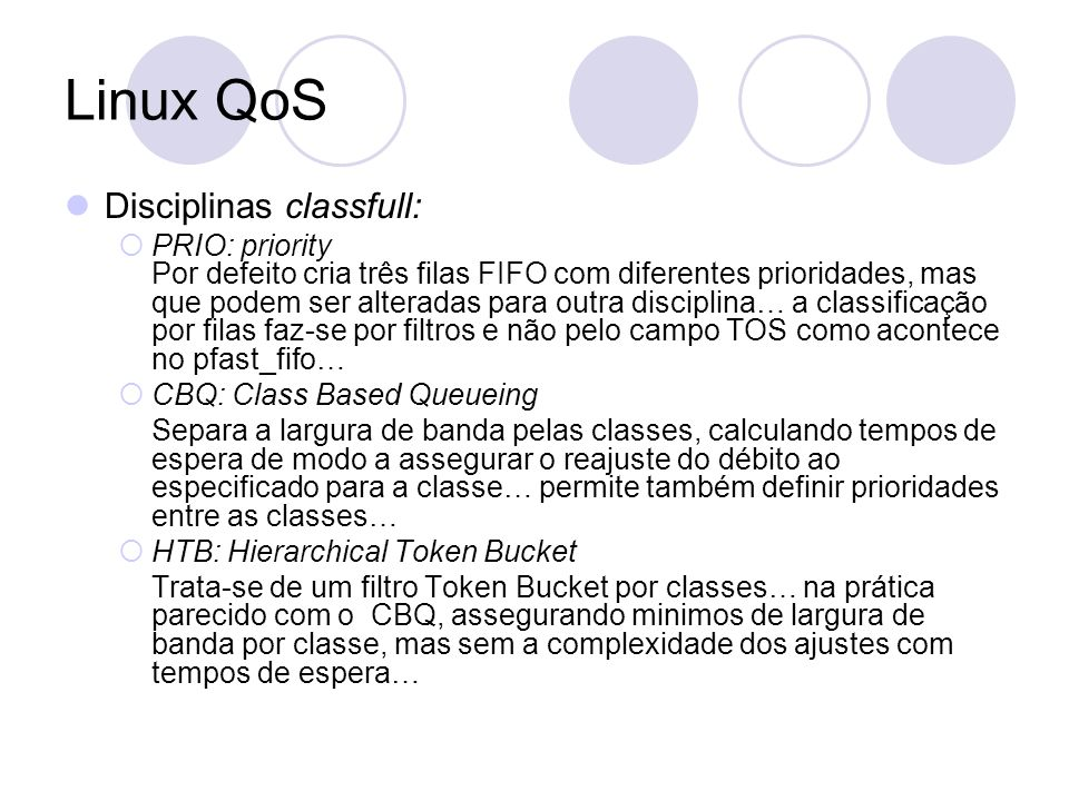 Linux QoS Disciplinas classfull:
