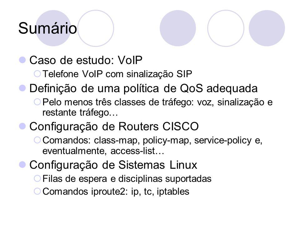Sumário Caso de estudo: VoIP Definição de uma política de QoS adequada