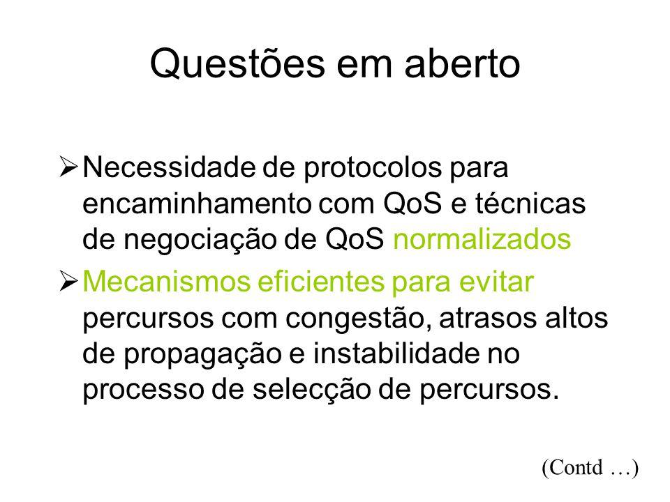 Questões em aberto Necessidade de protocolos para encaminhamento com QoS e técnicas de negociação de QoS normalizados.