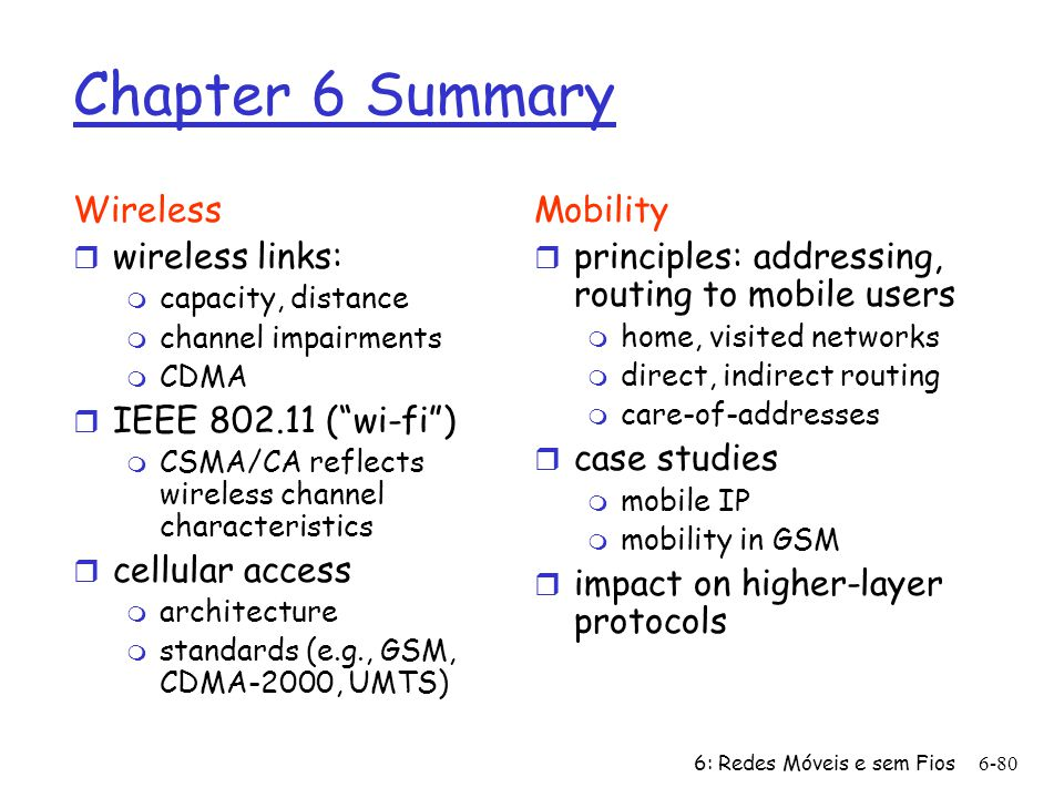 Chapter 6 Summary Wireless wireless links: IEEE 802.11 ( wi-fi )