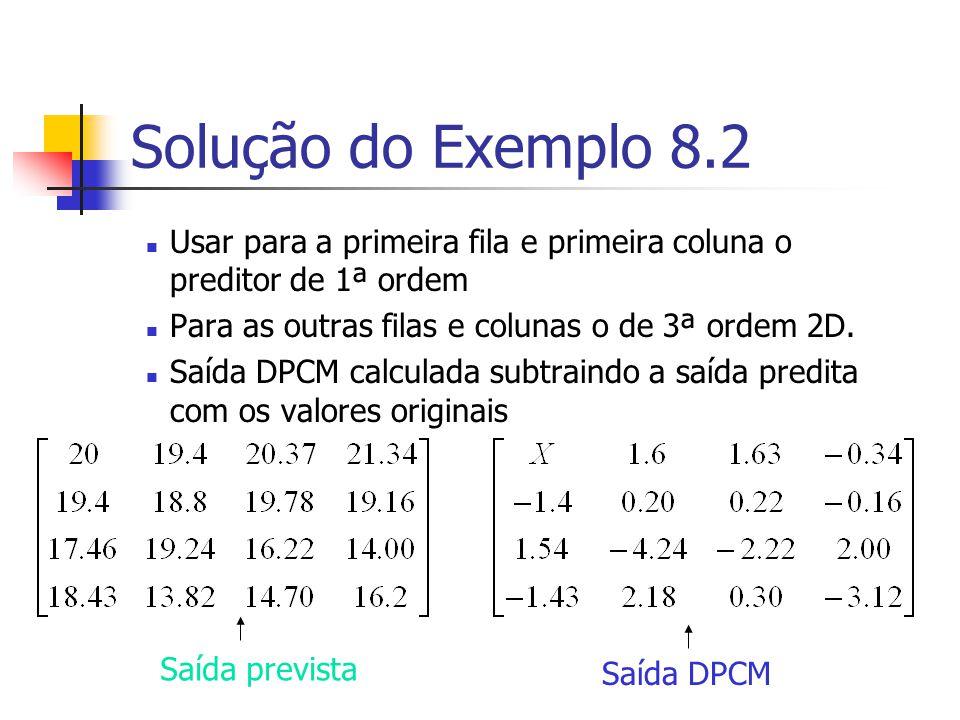 Solução do Exemplo 8.2 Usar para a primeira fila e primeira coluna o preditor de 1ª ordem. Para as outras filas e colunas o de 3ª ordem 2D.