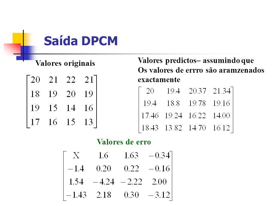 Saída DPCM Valores originais Valores de erro