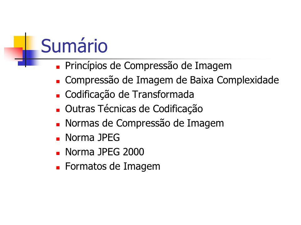 Sumário Princípios de Compressão de Imagem