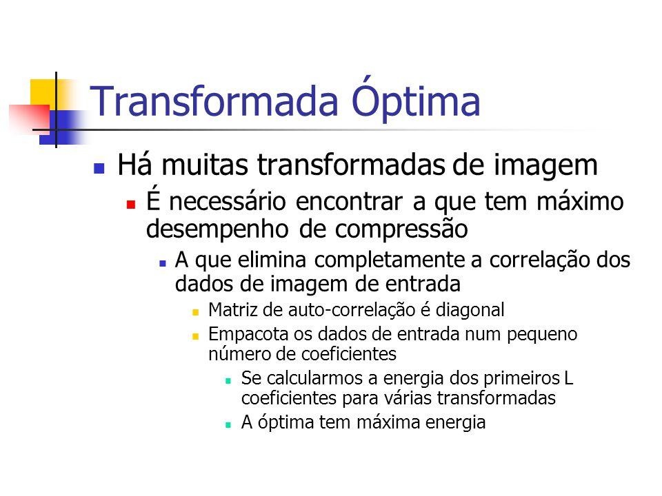 Transformada Óptima Há muitas transformadas de imagem