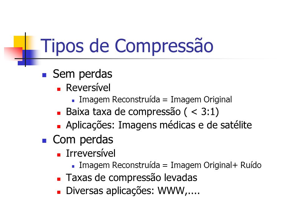 Tipos de Compressão Sem perdas Com perdas Reversível