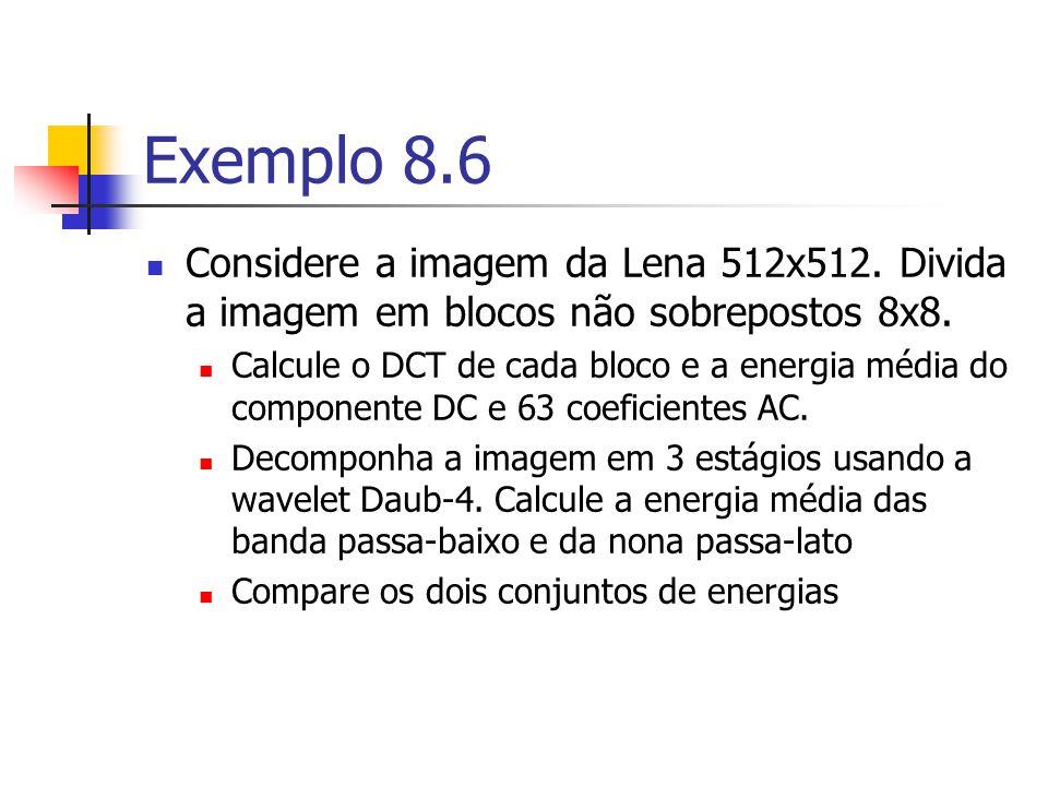 Exemplo 8.6 Considere a imagem da Lena 512x512. Divida a imagem em blocos não sobrepostos 8x8.