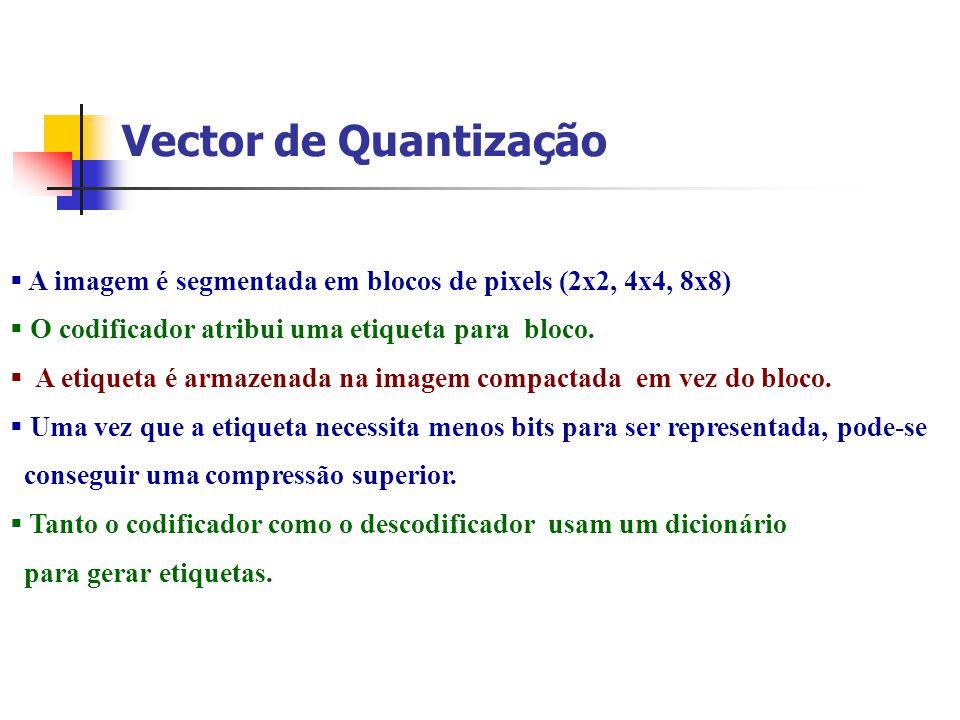 Vector de Quantização A imagem é segmentada em blocos de pixels (2x2, 4x4, 8x8) O codificador atribui uma etiqueta para bloco.