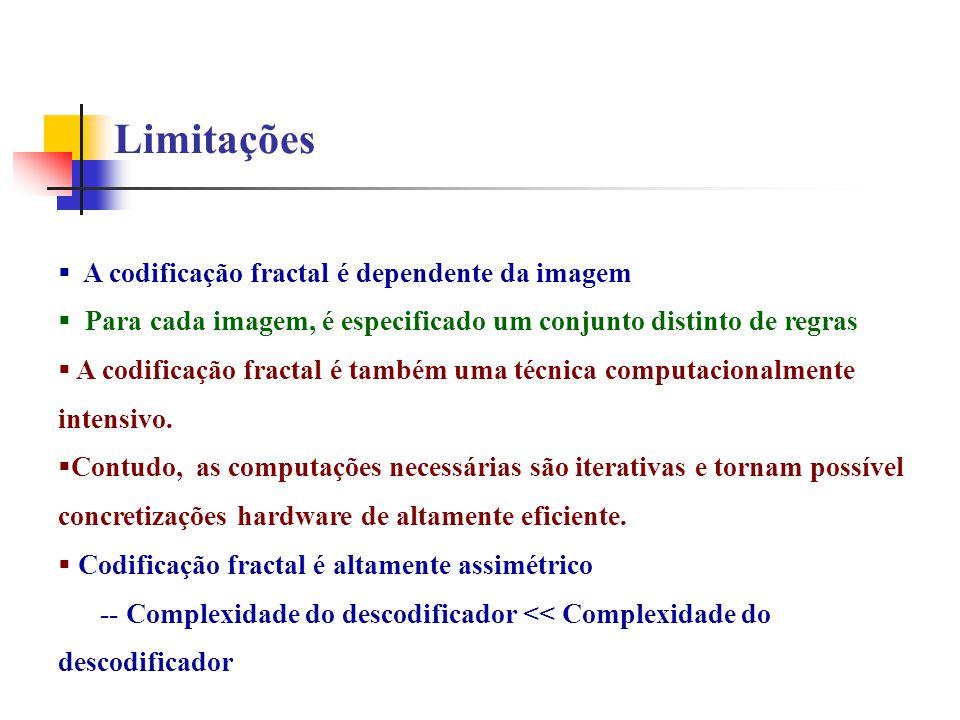 Limitações A codificação fractal é dependente da imagem