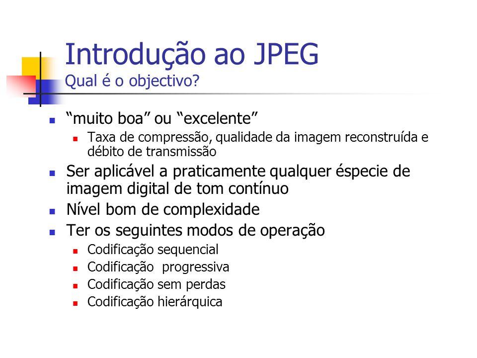 Introdução ao JPEG Qual é o objectivo