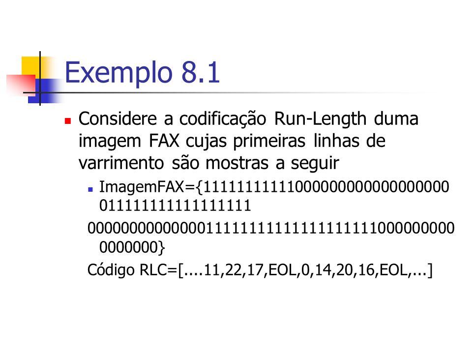 Exemplo 8.1 Considere a codificação Run-Length duma imagem FAX cujas primeiras linhas de varrimento são mostras a seguir.
