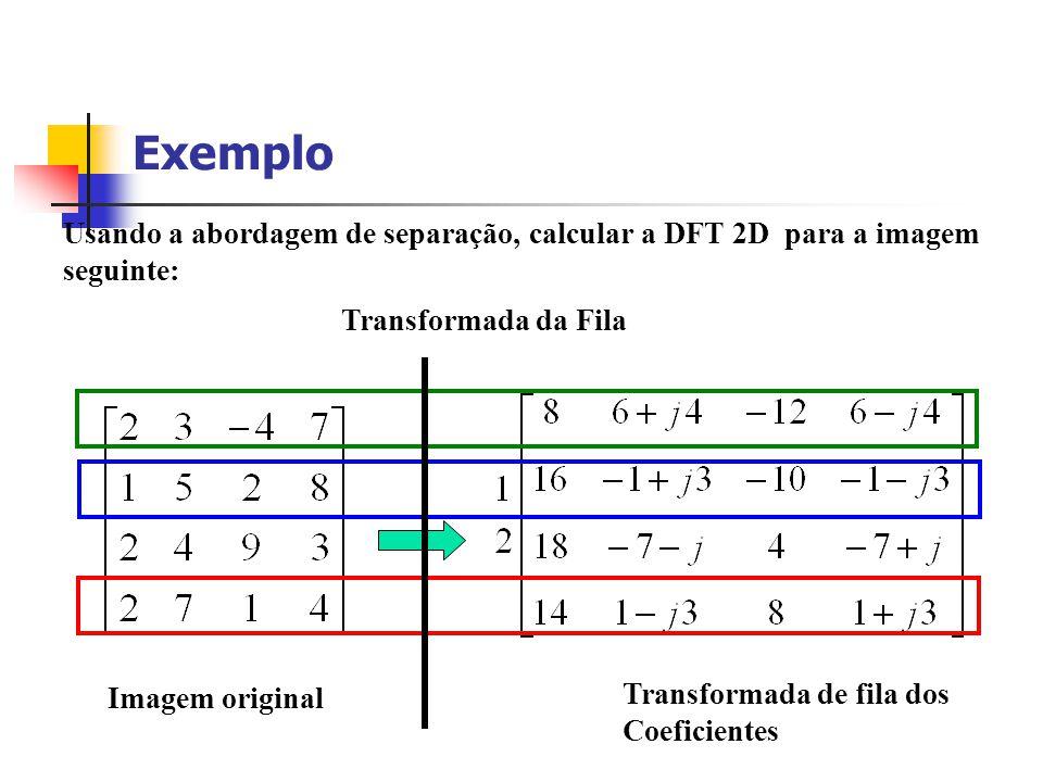 Exemplo Usando a abordagem de separação, calcular a DFT 2D para a imagem. seguinte: Transformada da Fila.