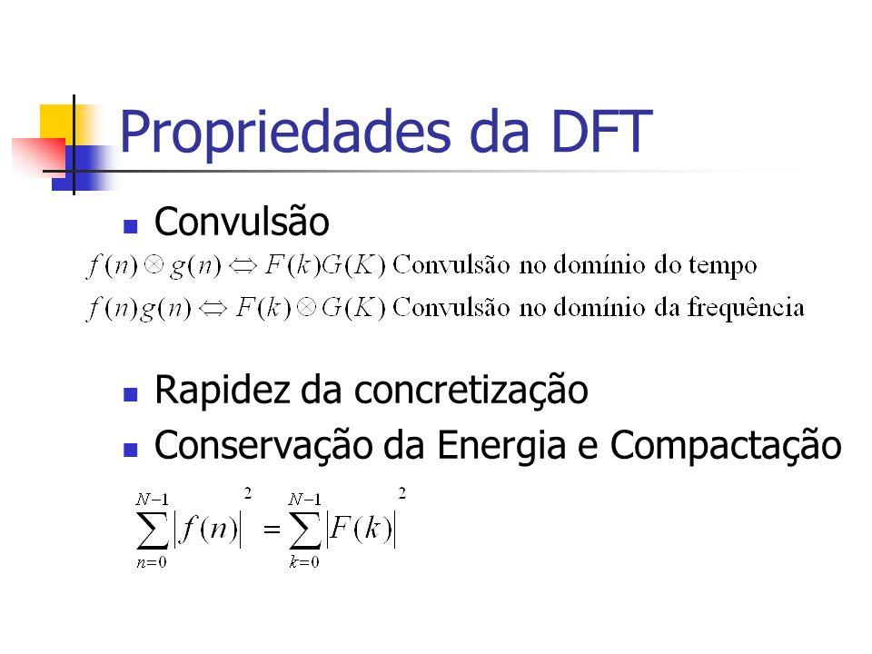 Propriedades da DFT Convulsão Rapidez da concretização