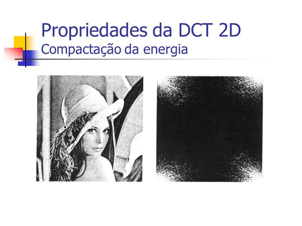 Propriedades da DCT 2D Compactação da energia