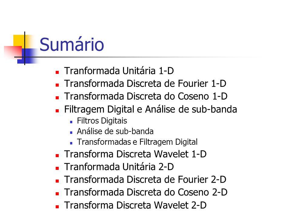 Sumário Tranformada Unitária 1-D Transformada Discreta de Fourier 1-D