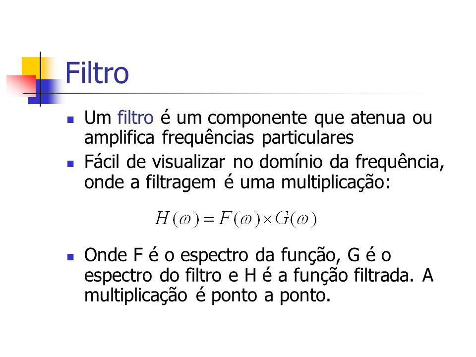 Filtro Um filtro é um componente que atenua ou amplifica frequências particulares.