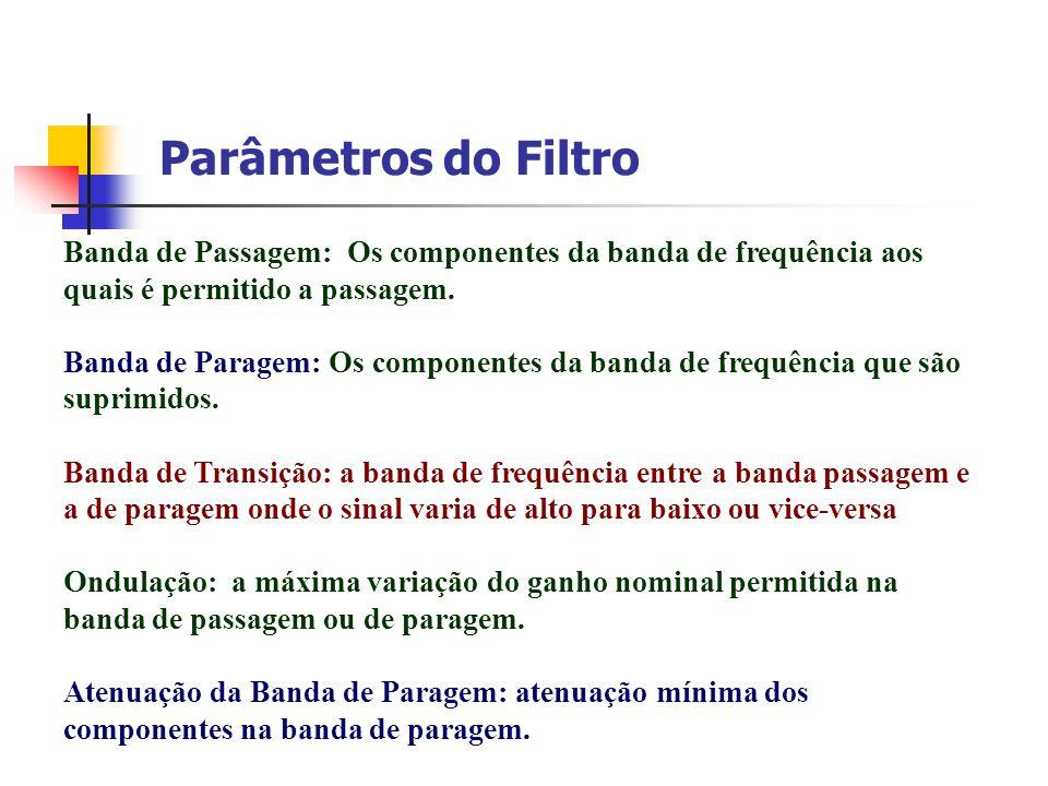 Parâmetros do Filtro Banda de Passagem: Os componentes da banda de frequência aos quais é permitido a passagem.