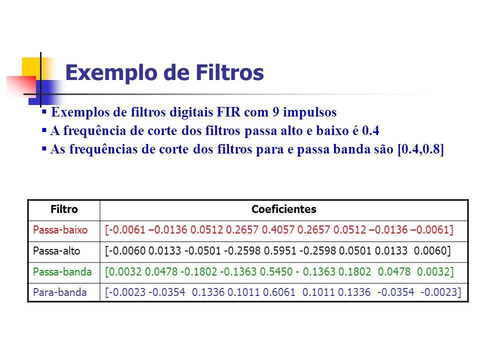 Exemplo de Filtros Exemplos de filtros digitais FIR com 9 impulsos