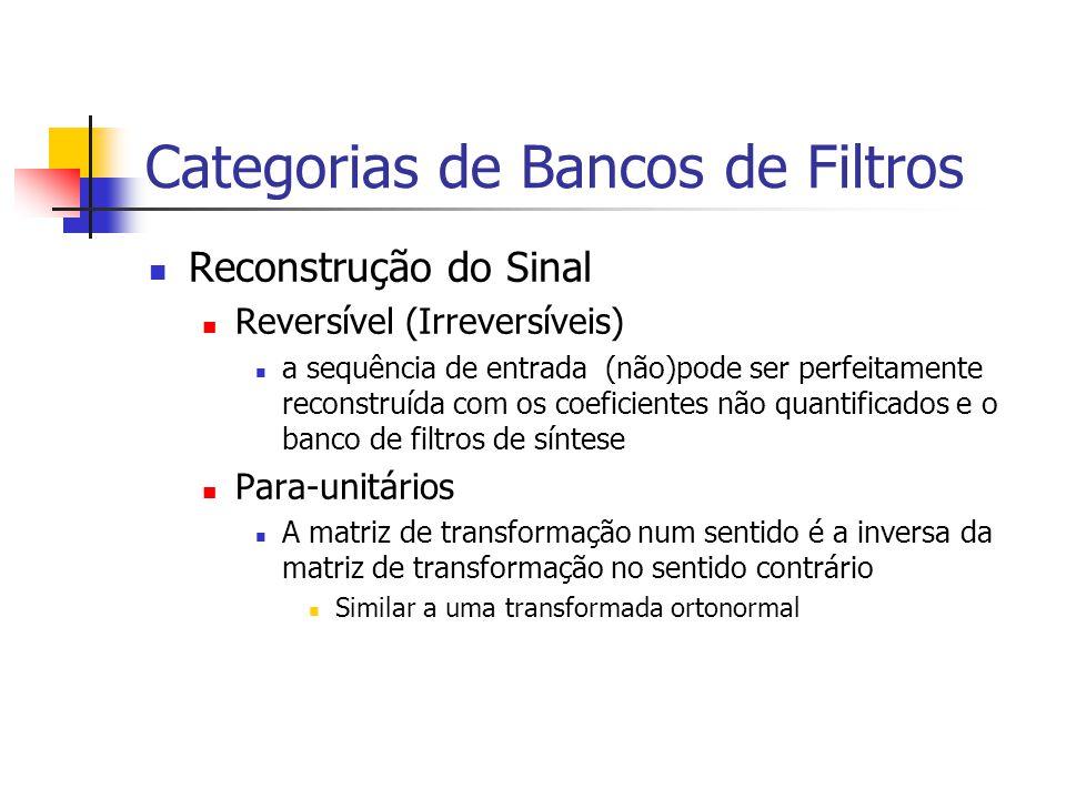 Categorias de Bancos de Filtros