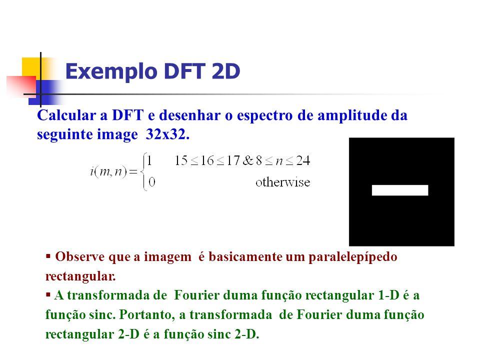 Exemplo DFT 2D Calcular a DFT e desenhar o espectro de amplitude da
