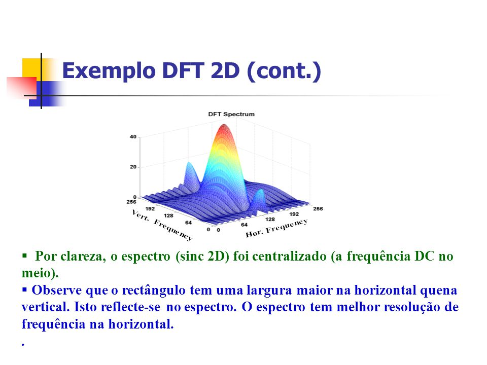 Exemplo DFT 2D (cont.) Por clareza, o espectro (sinc 2D) foi centralizado (a frequência DC no meio).