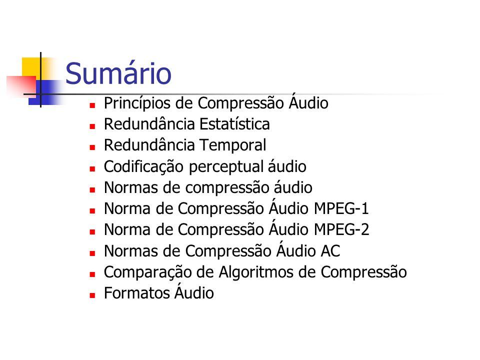 Sumário Princípios de Compressão Áudio Redundância Estatística