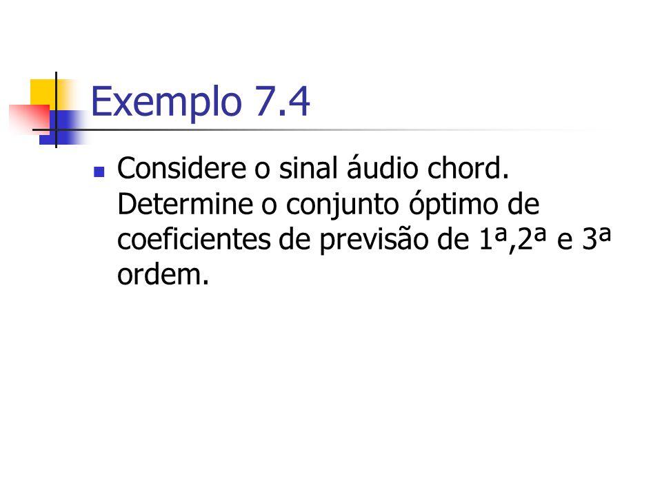 Exemplo 7.4 Considere o sinal áudio chord. Determine o conjunto óptimo de coeficientes de previsão de 1ª,2ª e 3ª ordem.