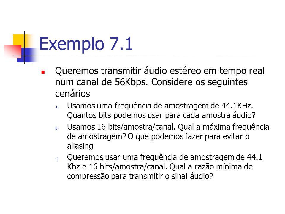 Exemplo 7.1 Queremos transmitir áudio estéreo em tempo real num canal de 56Kbps. Considere os seguintes cenários.