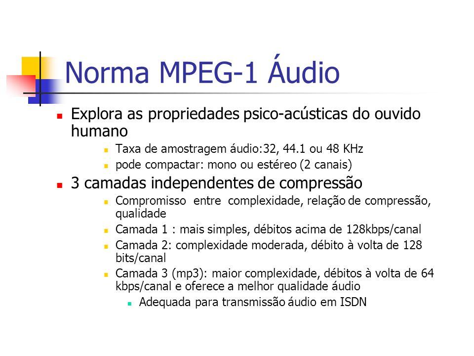 Norma MPEG-1 Áudio Explora as propriedades psico-acústicas do ouvido humano. Taxa de amostragem áudio:32, 44.1 ou 48 KHz.