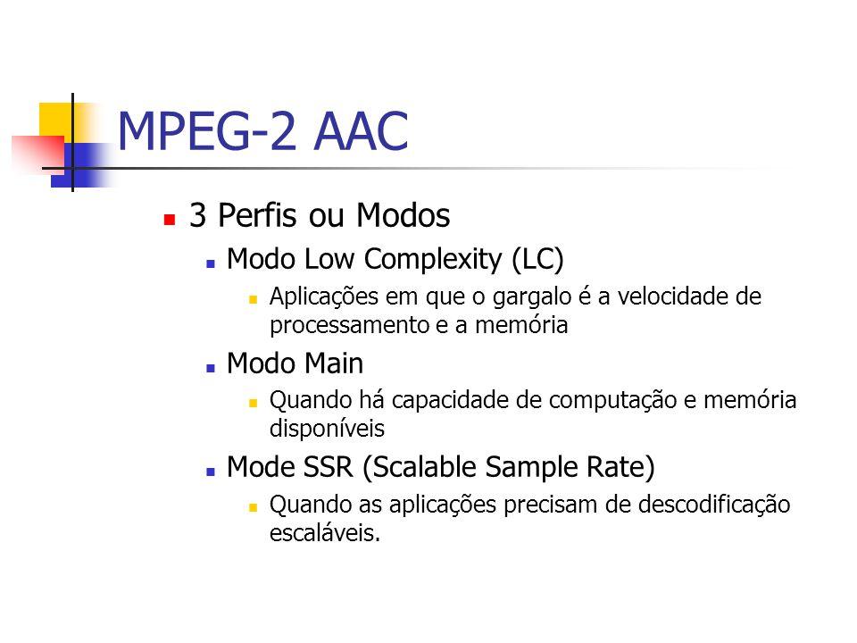 MPEG-2 AAC 3 Perfis ou Modos Modo Low Complexity (LC) Modo Main