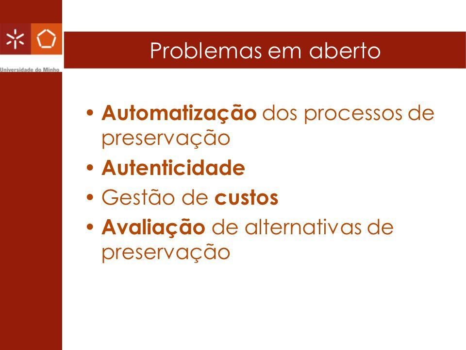 Problemas em aberto Automatização dos processos de preservação