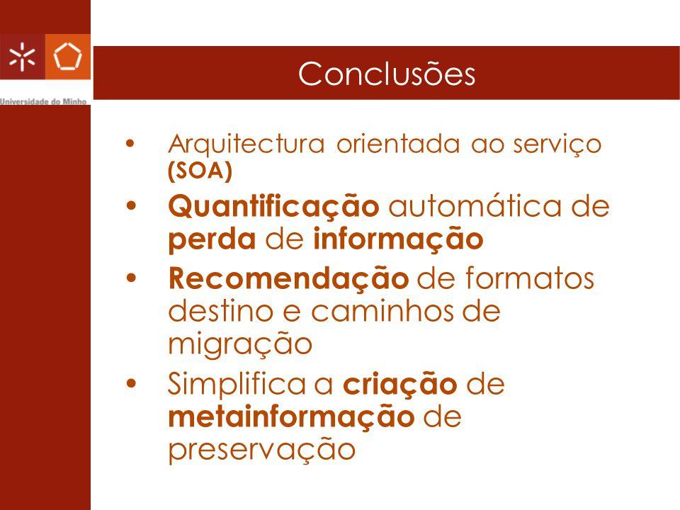 Conclusões Quantificação automática de perda de informação