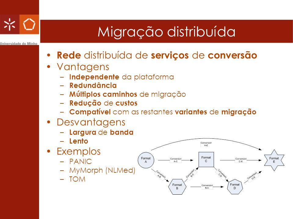 Migração distribuída Rede distribuída de serviços de conversão