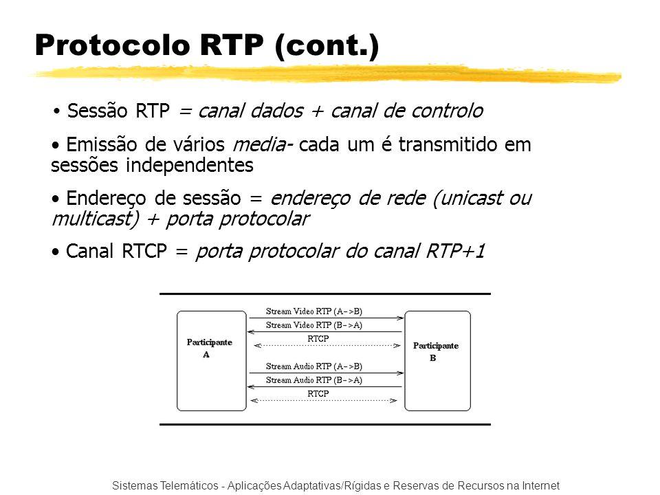 Protocolo RTP (cont.) Sessão RTP = canal dados + canal de controlo. Emissão de vários media- cada um é transmitido em sessões independentes.