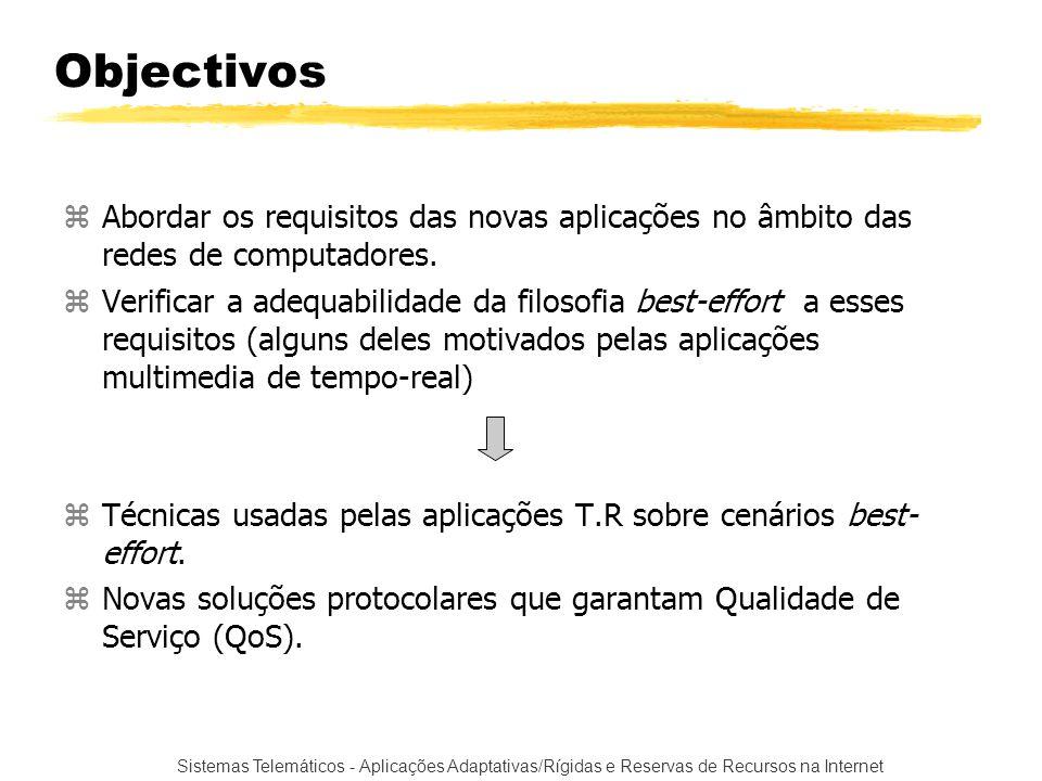 Objectivos Abordar os requisitos das novas aplicações no âmbito das redes de computadores.