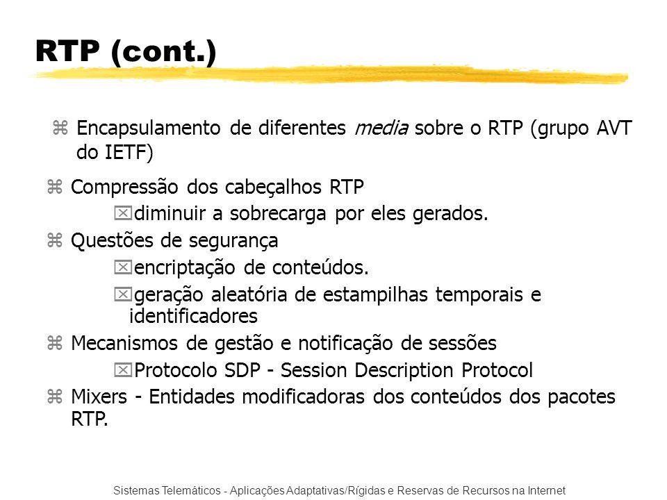 RTP (cont.) Encapsulamento de diferentes media sobre o RTP (grupo AVT do IETF) Compressão dos cabeçalhos RTP.