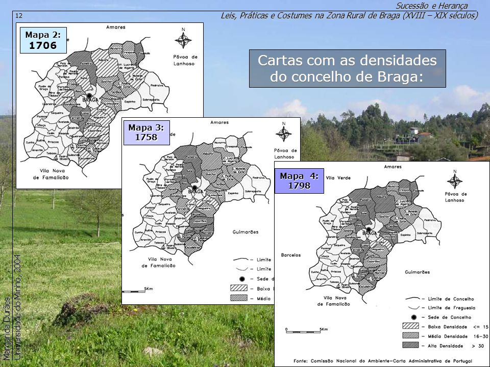 Cartas com as densidades do concelho de Braga: