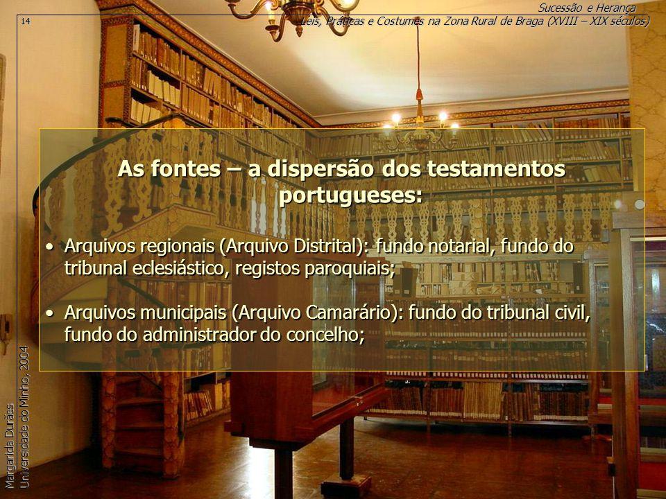 As fontes – a dispersão dos testamentos portugueses: