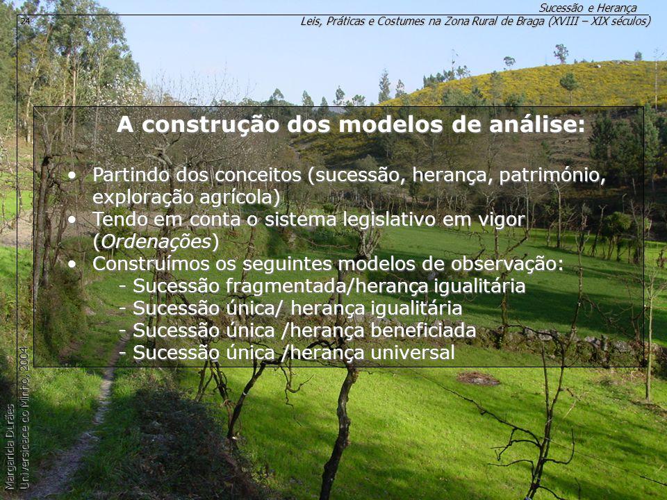 A construção dos modelos de análise: