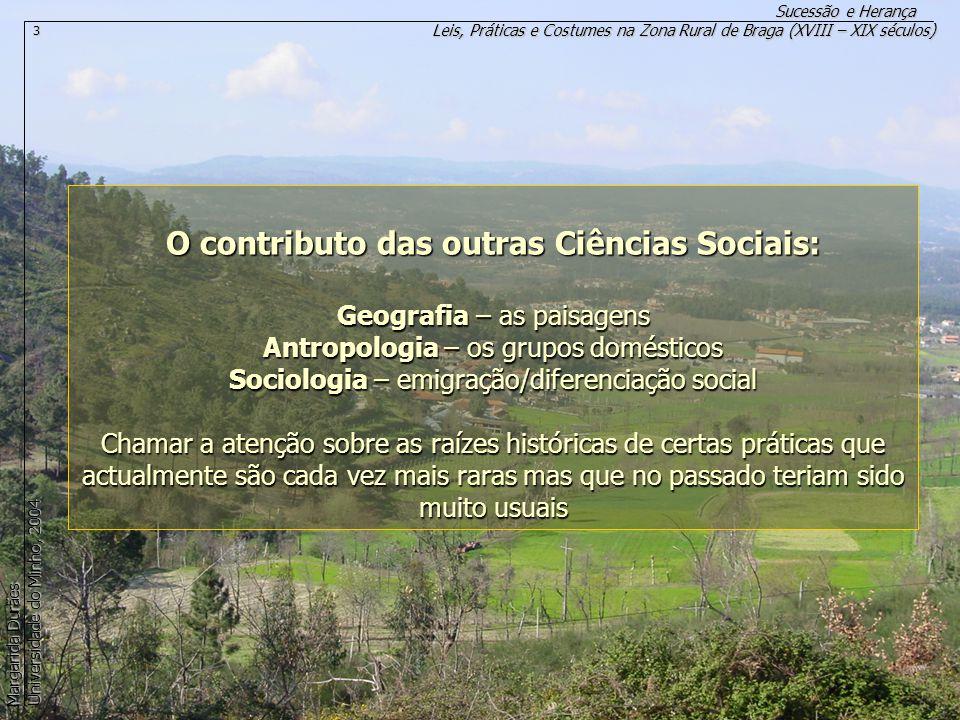 O contributo das outras Ciências Sociais: