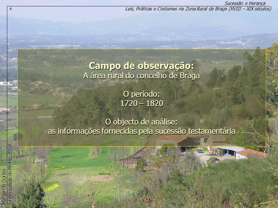Campo de observação: A área rural do concelho de Braga O período: