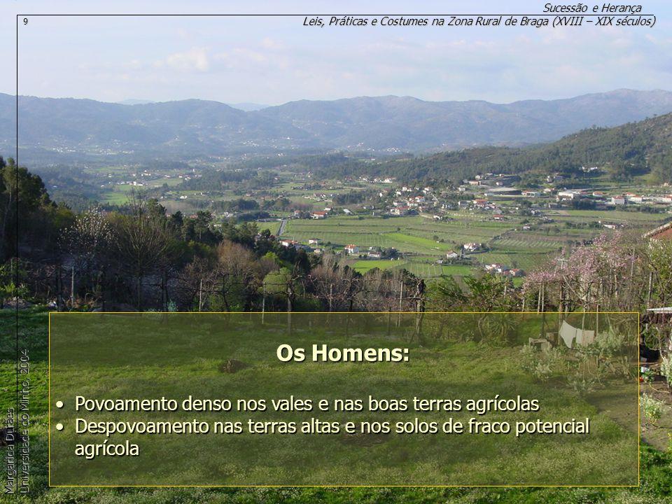 Os Homens: Povoamento denso nos vales e nas boas terras agrícolas