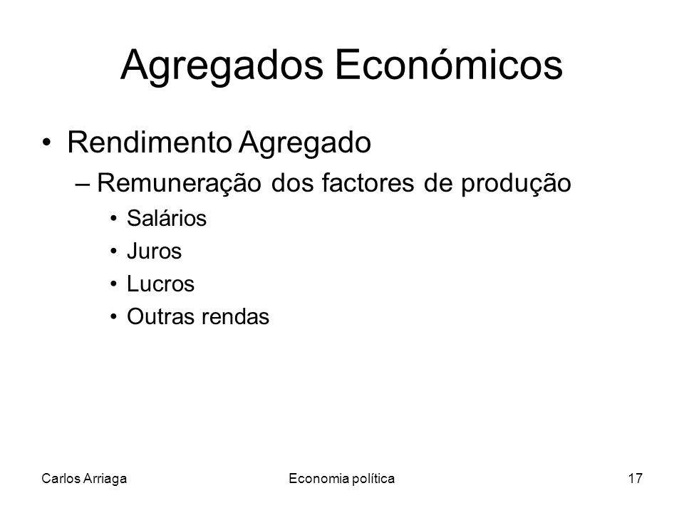 Agregados Económicos Rendimento Agregado