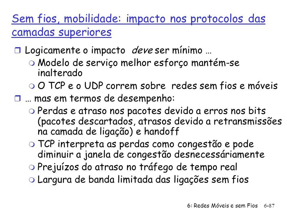 Sem fios, mobilidade: impacto nos protocolos das camadas superiores