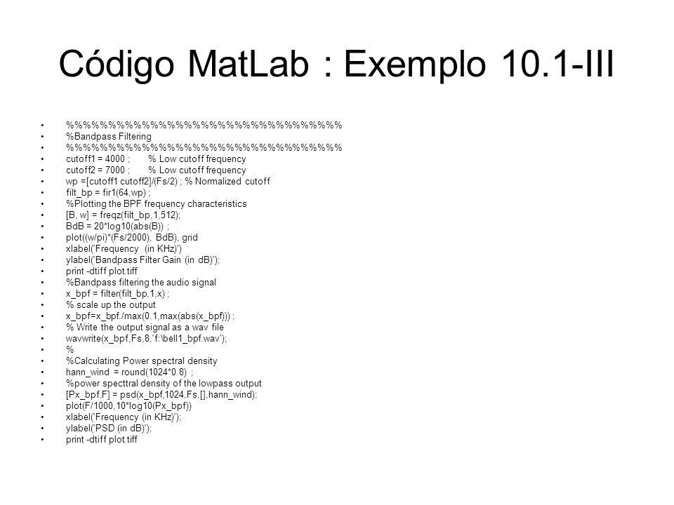Código MatLab : Exemplo 10.1-III
