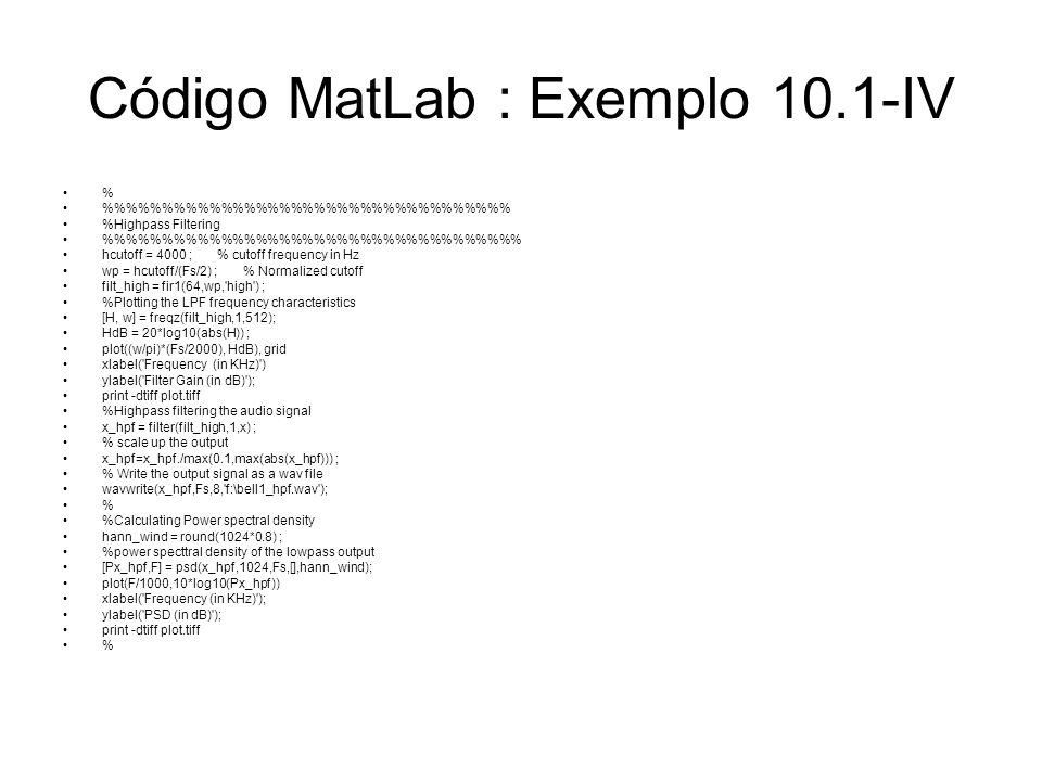 Código MatLab : Exemplo 10.1-IV