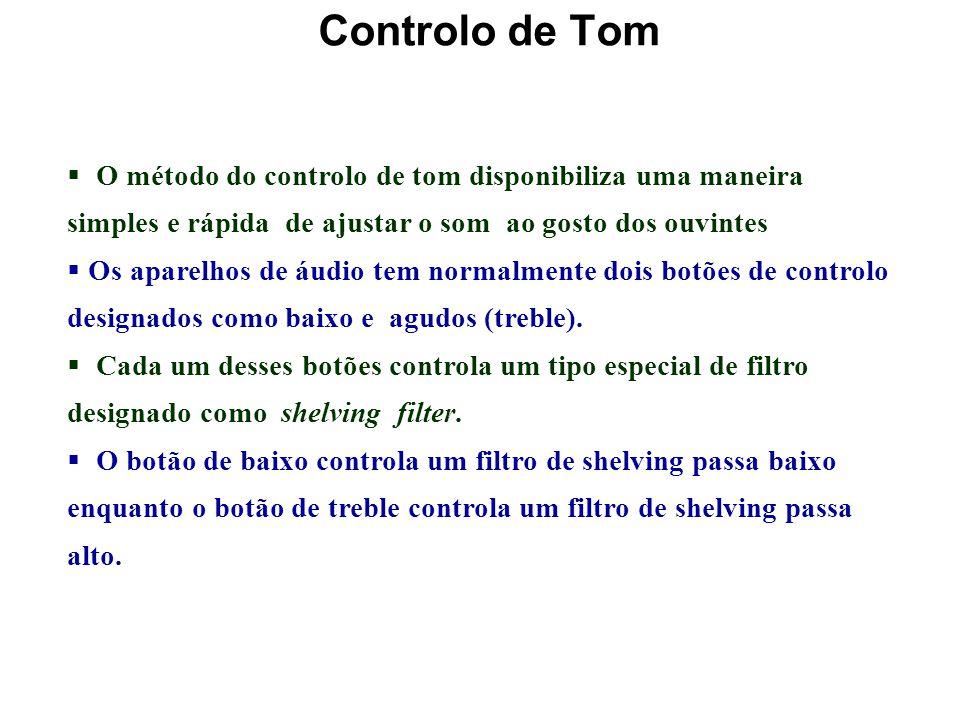 Controlo de Tom O método do controlo de tom disponibiliza uma maneira simples e rápida de ajustar o som ao gosto dos ouvintes.