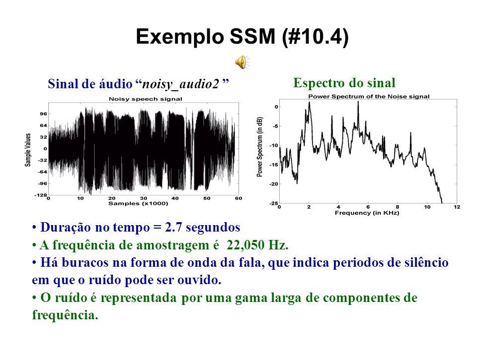 Exemplo SSM (#10.4) Sinal de áudio noisy_audio2 Espectro do sinal