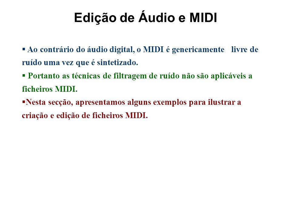 Edição de Áudio e MIDI Ao contrário do áudio digital, o MIDI é genericamente livre de ruído uma vez que é sintetizado.