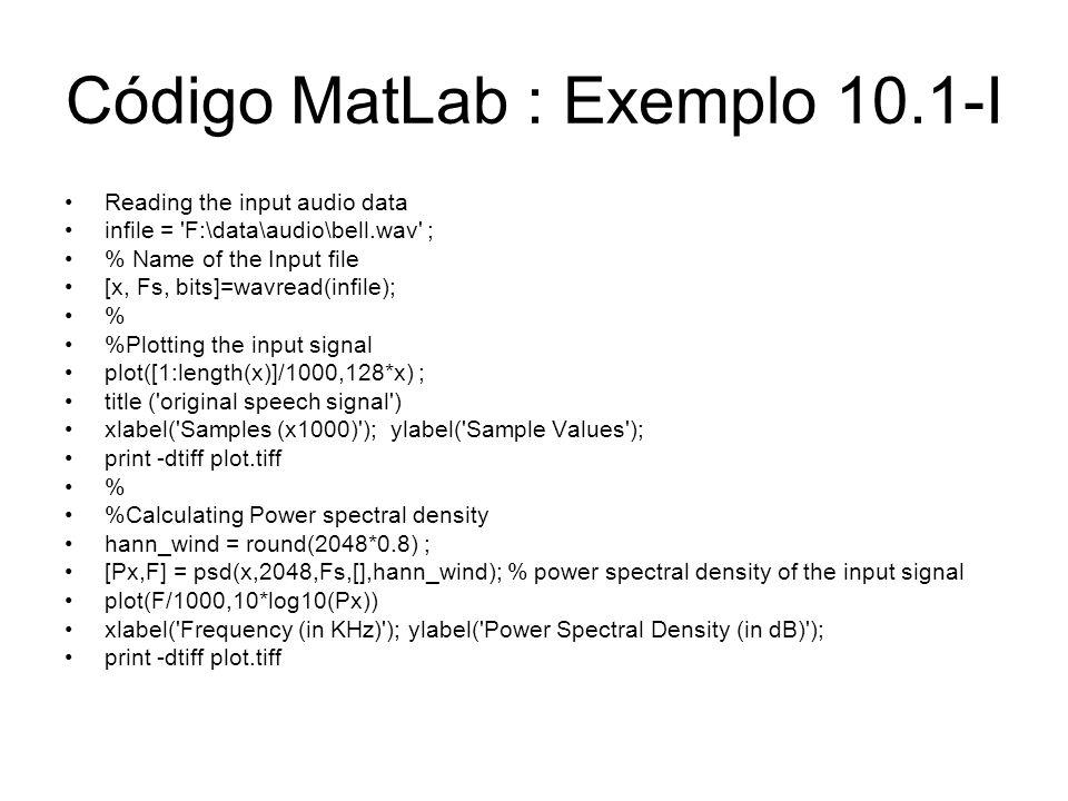 Código MatLab : Exemplo 10.1-I